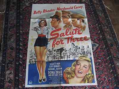 A Salute for Three Cops Movie Poster 1943 27x41 inches, original