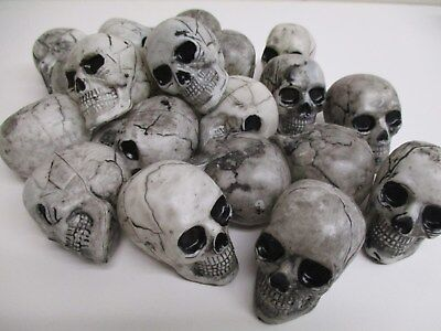 Lot of 18 Mini Plastic Skulls Halloween crafting Decor Prop decor - 18+ Halloween