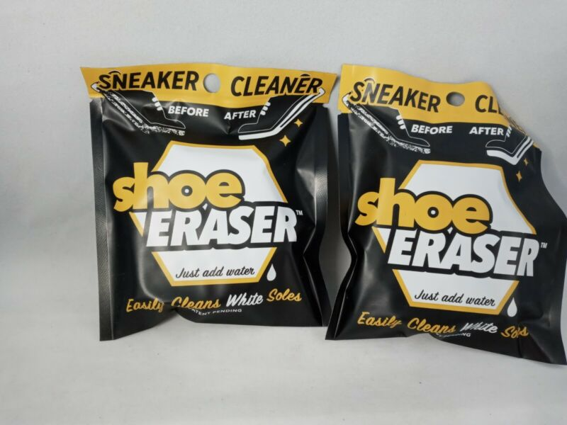 Shoe Eraser 2 PK. Sneakers Cleaner Easily Cleans White Soles Just Add Water New