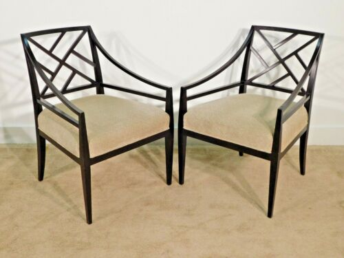 PAIR Baker Furniture Chinese Chippendale Arm Chairs Java Finish
