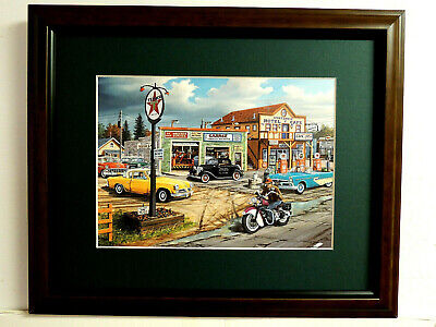 INDIAN MOTORCYCLE PICTURE OLD CARS TEXACO PUMPS CROSSROADS KEN ZYLLAB12X15