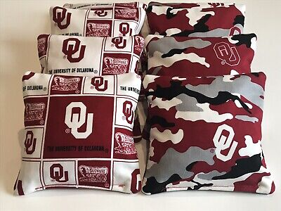 8 CORNHOLE BEAN BAG BAGGO CORN TOSS GAME OKLAHOMA SOONERS CAMO WHITE Baggo Bean Bag Game