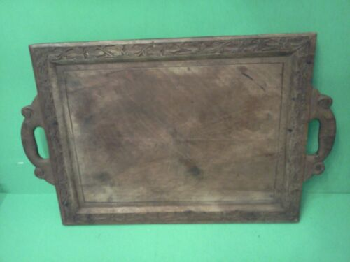 Antique Ornate Hand Carved Wood Serving Tray