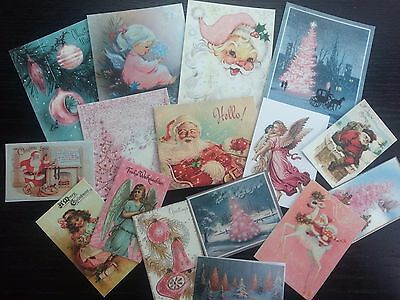 BB07B -- Lot of 16 Vintage PINK CHRISTMAS CARDS DIE CUTS for Card Making Crafts
