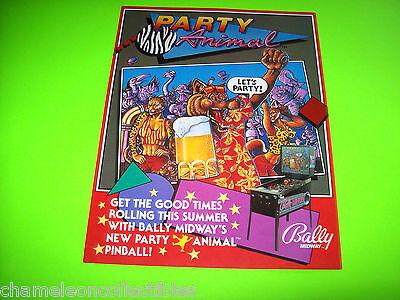 PARTY ANIMAL By BALLY 1987 ORIGINAL PINBALL MACHINE SALES FLYER BROCHURE