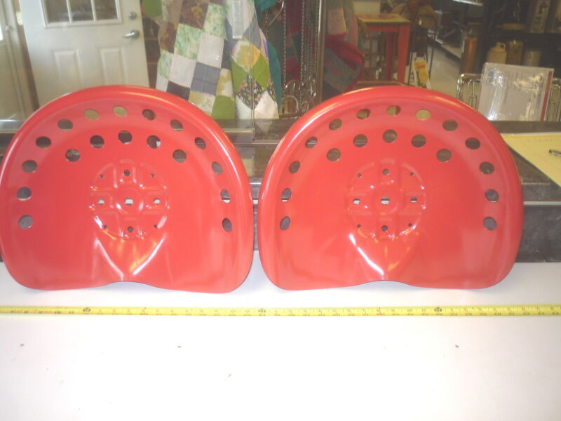 2  RED STEEL OLD STYLE  FARM  MACHINE  TRACTOR METAL BAR STOOL  SEAT WITH PAINT
