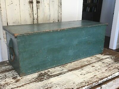 EARLY AAFA ANTIQUE BLUE BLANKET SEA CHEST FORGED HINGES SQUARE NAILS ROPE HANDLE