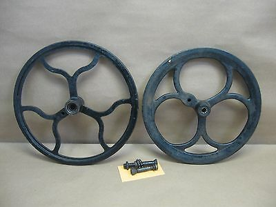Vtg Belt Pulley Wheels Cast Iron Industrial Machine Age Steampunk w/ Axle Bolts
