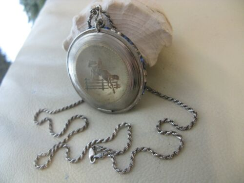 Antique Blue Jewel STERLING Silver Chain Equestrian Compact Necklace Pendant