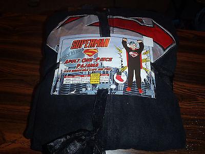 Superman Black Costume Adult Licensed Union Suit Pajama NEW With Tags - Black Superman Suit Costume