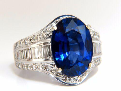 12.50ct Lab Sapphire Diamonds Ring Vivid Blue 18kt