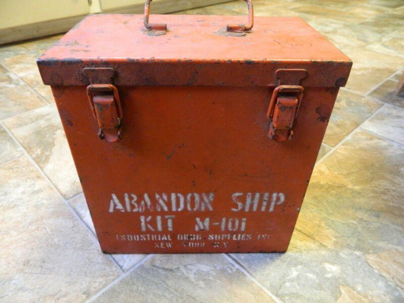 "RARE ANTIQUE VINTAGE ""ABANDON SHIP KIT"" METAL BOX Red"