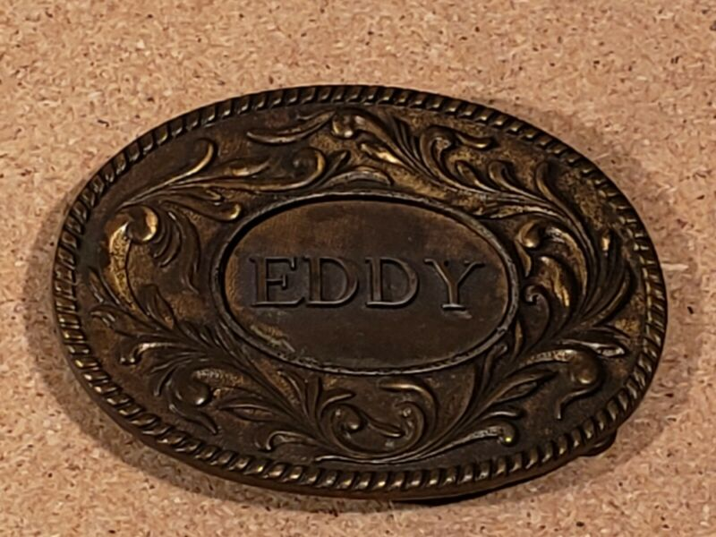 Awesome Vintage 1977 the Kinney Co. Brass Eddy Belt Buckle