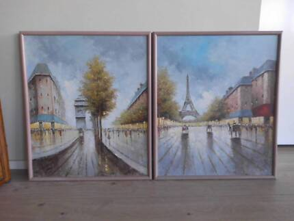 FRENCH/PARIS SCENCE PAINTINGS SET OF 2