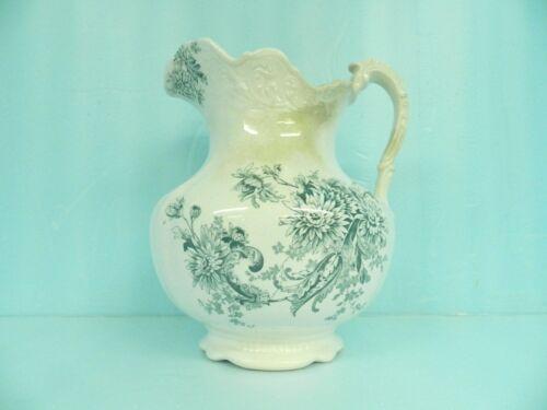 ANTIQUE WASHSTAND PITCHER LG. Buffalo Pottery Semi Vitreous Chrysanthemum BLUE