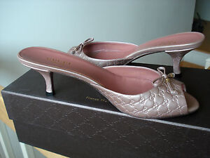 Gucci-womens-sandals-shoes-Microguccissima-metallic-leather-logo-slides-Sz-6-NIB