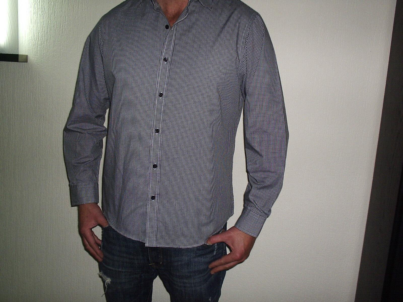 Black White Check Long Sleeve Shirt Size Large