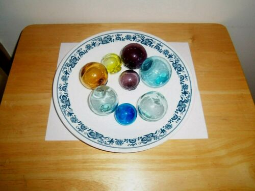 """(8) Vintage Hand Blown Nautical Glass Floats Buoys Fishing Floats Asst-Lot A"""
