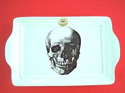 HALLOWEEN PLATTER SKELETON SKULL PORTRAIT HANDLED SERVING PLATE NEW ITALY - Serving Platters Halloween