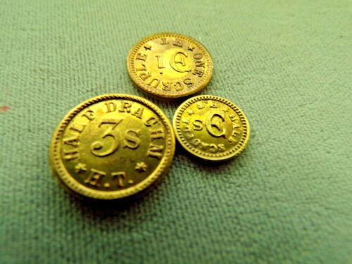 (3) Antique Weight Apothecary Token Chemist Pharmacy Drug Medicine weights