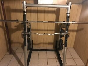 Squat rack and bench press
