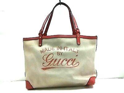 Auth GUCCI 247209 Beige RedBrown Hemp Leather Tote Bag