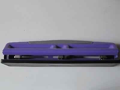 3 Hole Paper Puncher Purple Steel 12 Sheet Capacity