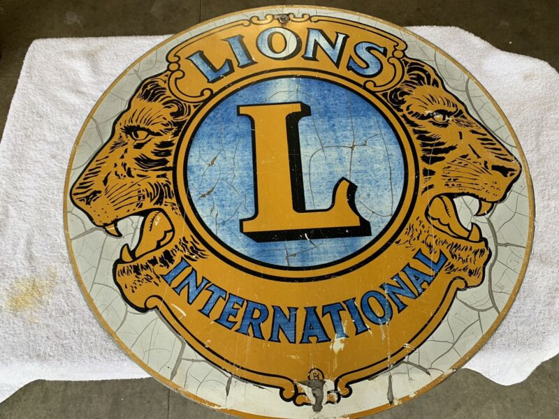 "Vintage Original Lions Club International Double Sided 30"" Historical Sign"