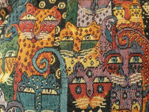 Laurel Burch Cat Tapestry Small Purse Zip Closure Double Handles 12x7x4 XLNT