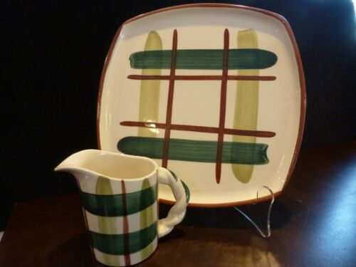 Blair pottery mid century Gay Plaid square dinner plate & cream pitcher