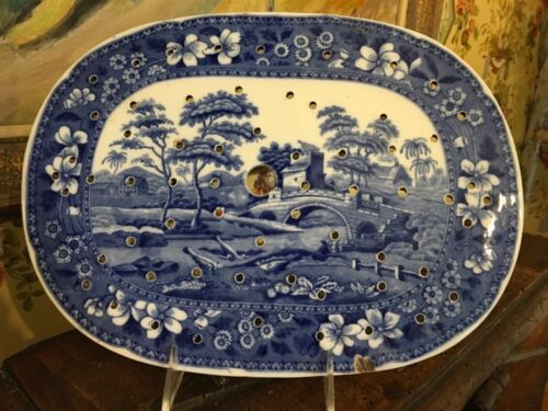 English Copeland Spode Tower Blue & White Oval Meat Tray Strainer Insert