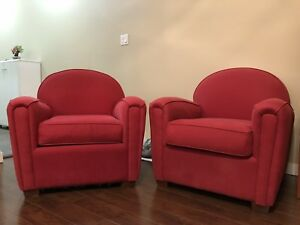 Red Sofa Chairs (2) For Sale