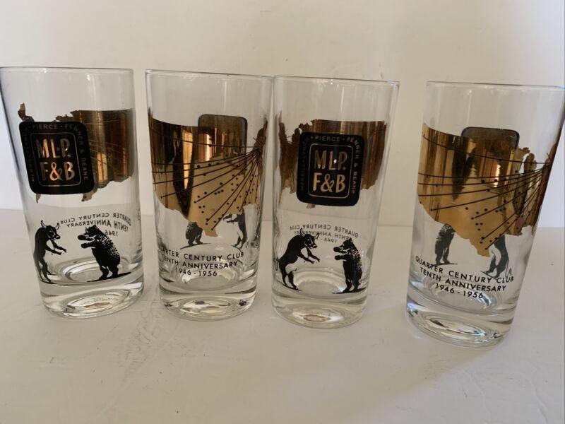 RARE! MERRILL LYNCH PIERCE FENNER 10 Anniversary BULL & BEAR 4 Tumblers Glasses