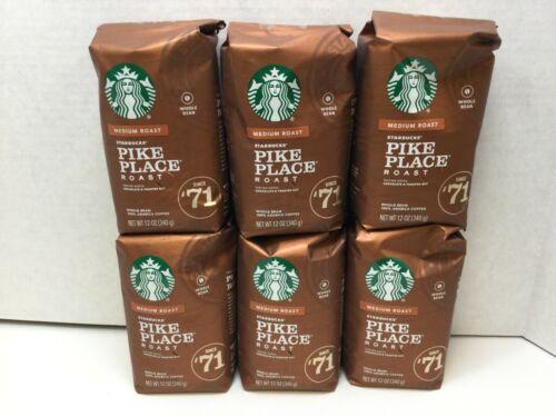 Starbucks Pike Place Medium Roast Whole Bean Coffee, CASE OF 6, 03/2021