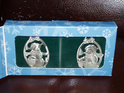 Longaberger Snow Friends Pewter Ornaments New in Original Box