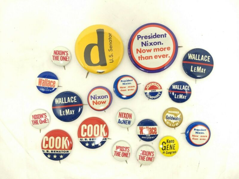 Lot of 20 Campaign Buttons Pinbacks; Cook, Wallace, Nixon, Huddleston, Johnson