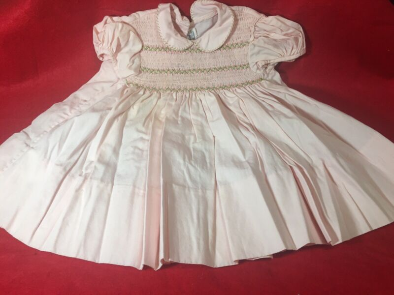 Vintage Nathan Krauskopf Co Baby Dress - Smocked- Reborn