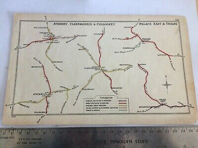 TRALEE ARDFERT ATHENRY COLLOONEY PALACE EAST BORRIS CLAREMORRIS RAILWAY MAP 1904