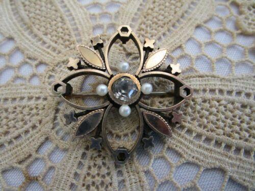 "Victorian Rhinestone Center Flower Open Work Rose Gold Plated Pin "" C "" Catch"