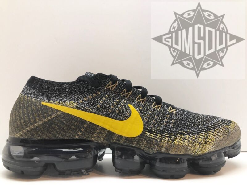 5af98391492b NIKE AIR VAPORMAX FLYKNIT RUNNING BLACK MINERAL GOLD DARK GREY 849558 021  sz 13