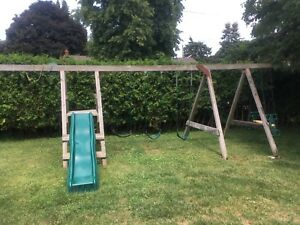 Kids swing set and slide
