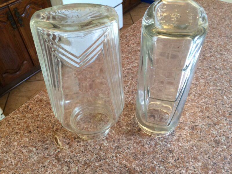 Vtg Clear Glass Jars With  1932 E. W. Fuerst pat. # 5396-2 & 86565 on bottom.