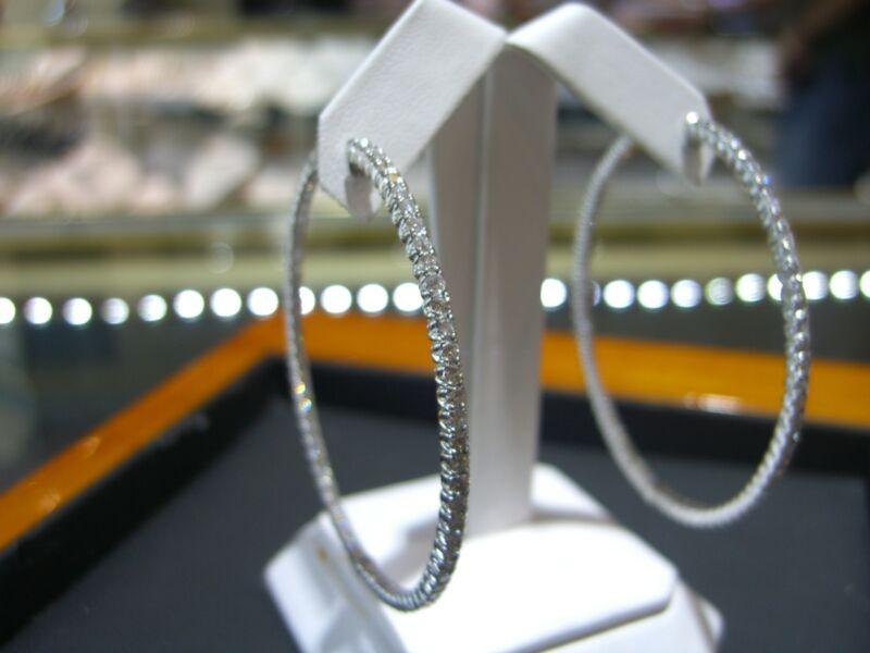 Fine 18 Karat White Gold Diamond Hoop Inside Outside Earrings 5.00 Carats New!!!