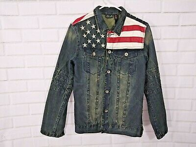 Classic Suwo Motorcycle Jeans Jacket Sz L American Flag Denim Moto Rockabilly