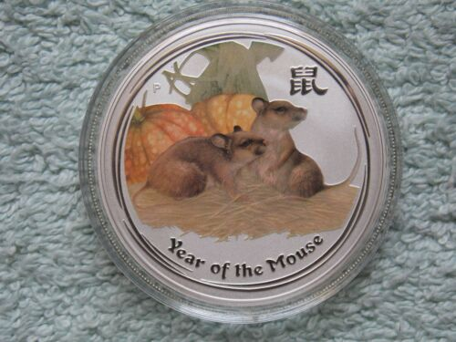 2008 Australian Silver Mouse Lunar Series II Colorized BU 1 OZ
