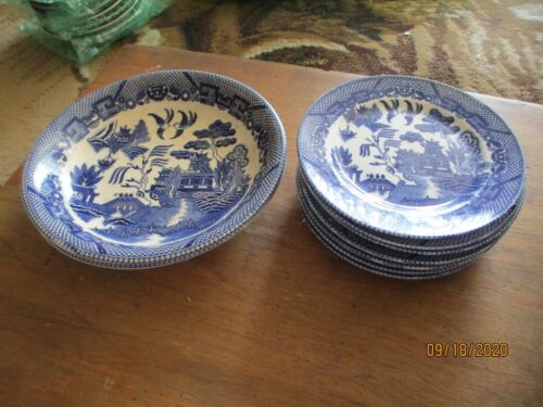 Antique Blue Willow Flow Set of 7 Dinner Plates, 2 Large Serving Bowls, JAPAN