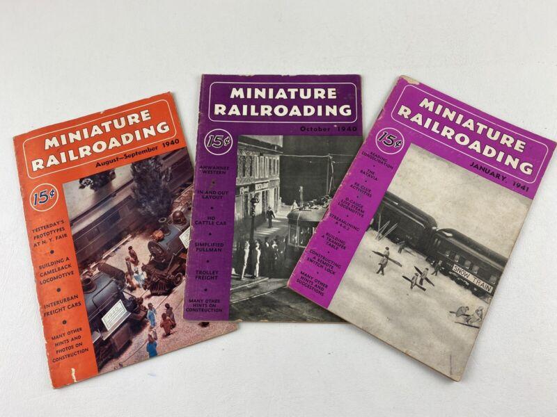 Lot of 3, 1940 & 1941 Miniature Railroading Magazines, Model Train Railroad