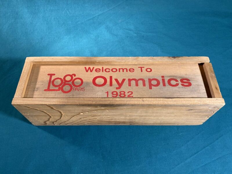Vintage 1982 Olympics Logo Paris Wooden Crate Wine Box