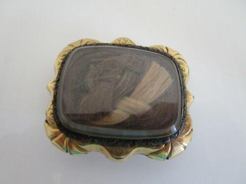 "Victorian Mourning Hair Blonde & Dark Brown Locks Etched Cushion "" Pin """
