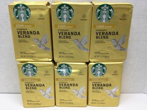 Starbucks Veranda Blend Blonde Roast Ground Coffee, 6 Bags, 12 oz, 07/2021